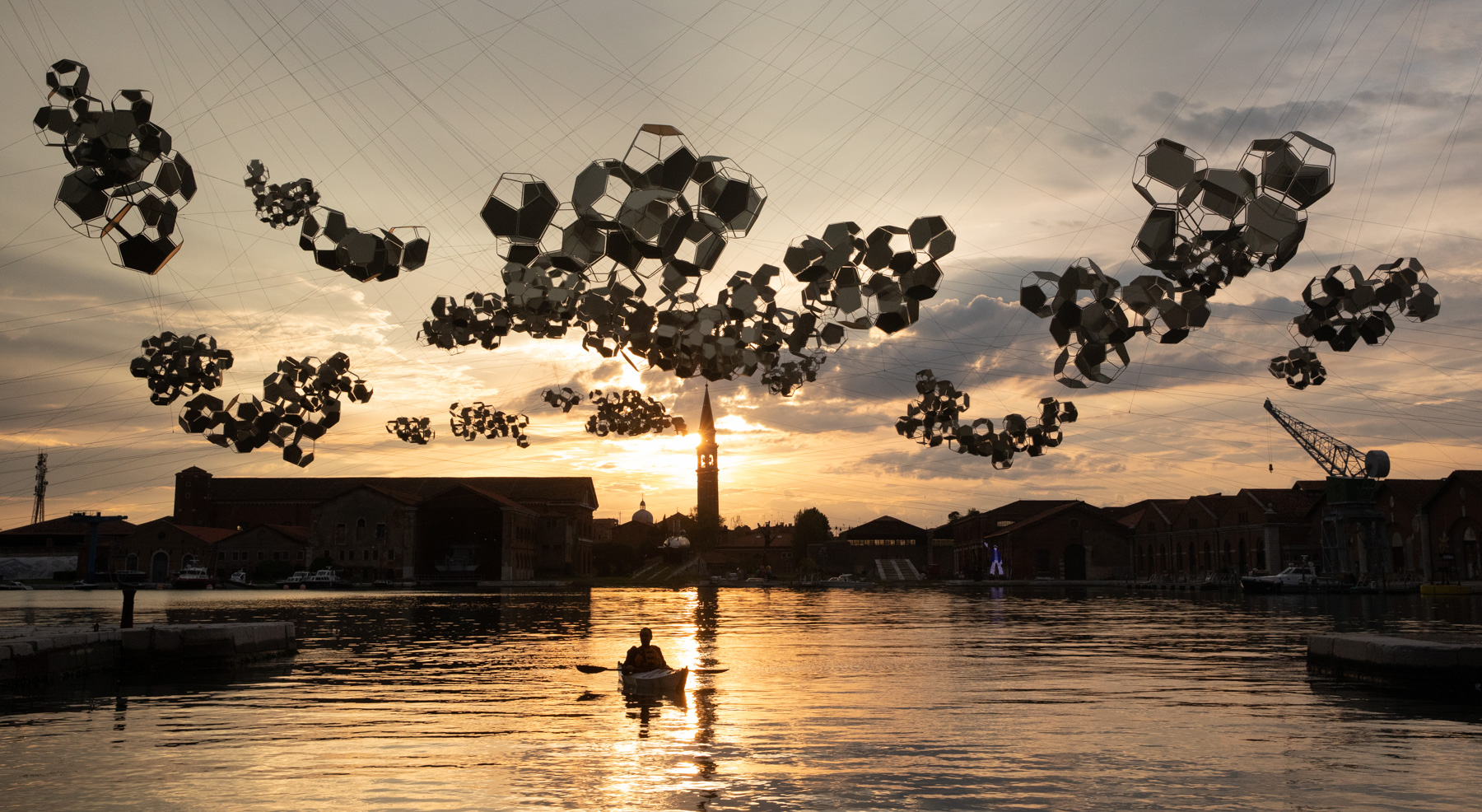 Tomás Saraceno Aero(s)cene: When breath becomes air, when atmospheres become the movement for a post fossil fuel era against carbon-capitalist clouds, 2019 Installation view of On the Disappearance of Clouds, 2019 at May You Live In Interesting Times, Biennale Arte 2019, curated by Ralph Rugoff.